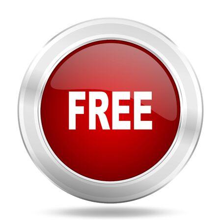 free icon: free icon, red round metallic glossy button, web and mobile app design illustration Stock Photo