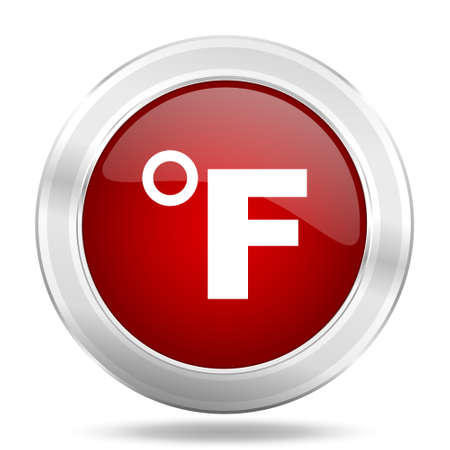 fahrenheit: fahrenheit icon, red round metallic glossy button, web and mobile app design illustration