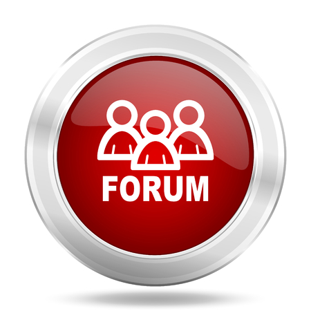 forum icon: forum icon, red round metallic glossy button, web and mobile app design illustration