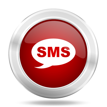 sms icon: sms icon, red round metallic glossy button, web and mobile app design illustration