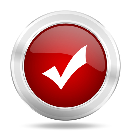 yea: accept icon, red round metallic glossy button, web and mobile app design illustration Stock Photo