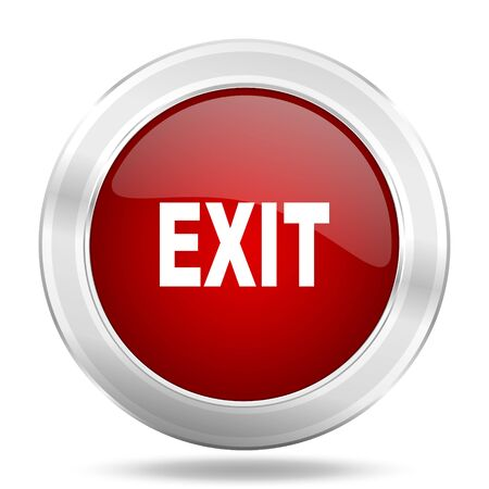 exit icon: exit icon, red round metallic glossy button, web and mobile app design illustration
