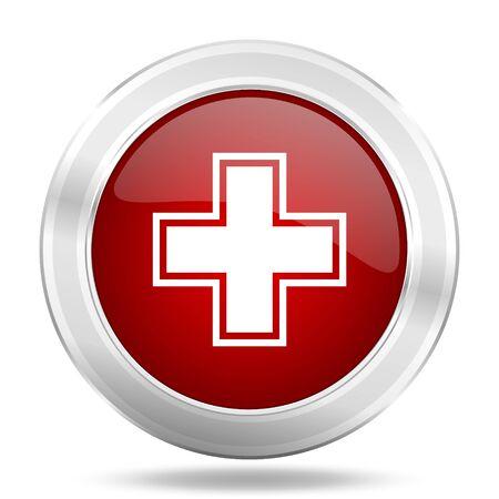 pharmacy icon: pharmacy icon, red round metallic glossy button, web and mobile app design illustration Stock Photo