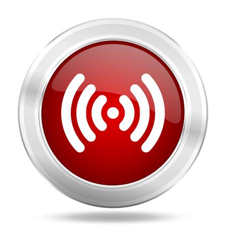 wifi icon: wifi icon, red round metallic glossy button, web and mobile app design illustration