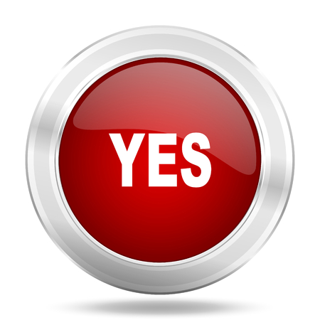yes icon: yes icon, red round metallic glossy button, web and mobile app design illustration