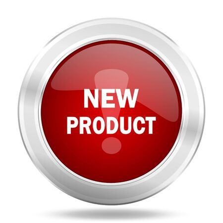 special steel: new product icon, red round metallic glossy button, web and mobile app design illustration