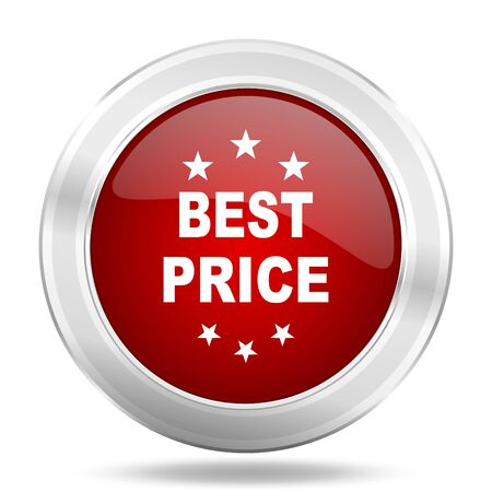 best price icon: best price icon, red round metallic glossy button, web and mobile app design illustration