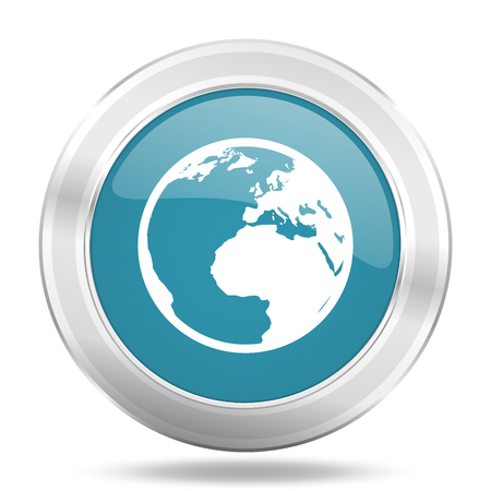 parallel world: earth icon, blue round metallic glossy button, web and mobile app design illustration