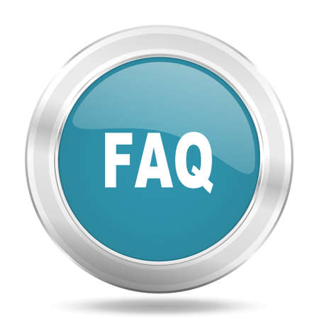 faq icon: faq icon, blue round metallic glossy button, web and mobile app design illustration