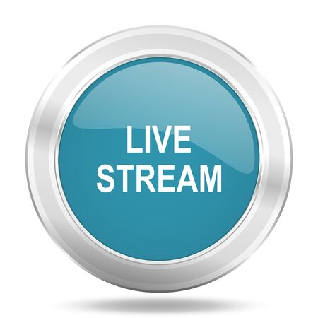 live stream tv: live stream icon, blue round metallic glossy button, web and mobile app design illustration