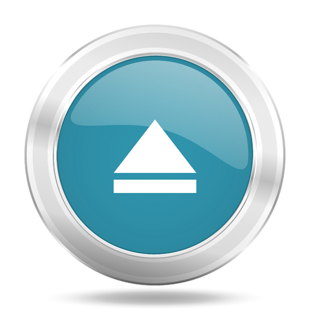 eject icon: eject icon, blue round metallic glossy button, web and mobile app design illustration Stock Photo