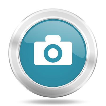 picto: camera icon, blue round metallic glossy button, web and mobile app design illustration