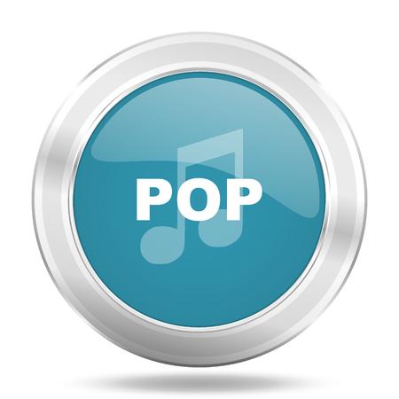 listen live stream: pop music icon, blue round metallic glossy button, web and mobile app design illustration Stock Photo