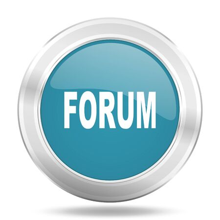 forum icon: forum icon, blue round metallic glossy button, web and mobile app design illustration Stock Photo