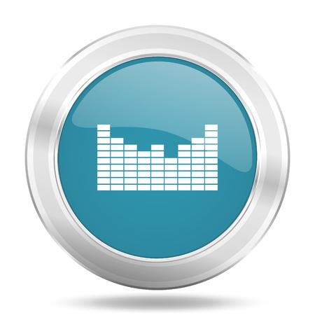 sound icon: sound icon, blue round metallic glossy button, web and mobile app design illustration