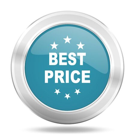best price icon: best price icon, blue round metallic glossy button, web and mobile app design illustration