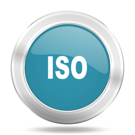 iso icon: iso icon, blue round metallic glossy button, web and mobile app design illustration