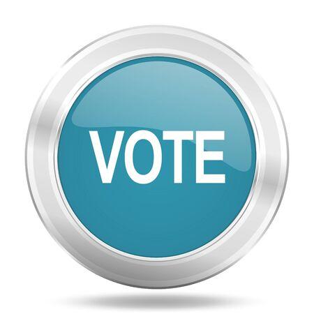vote icon: vote icon, blue round metallic glossy button, web and mobile app design illustration