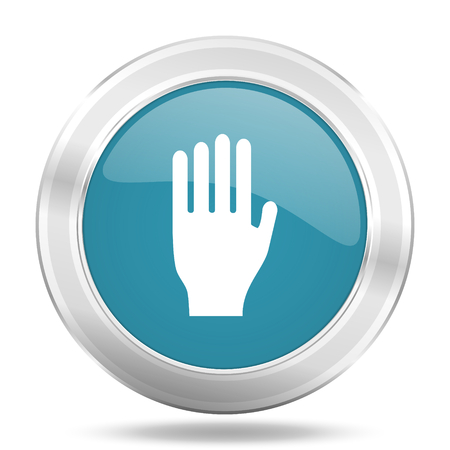stop icon: stop icon, blue round metallic glossy button, web and mobile app design illustration