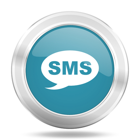 sms icon: sms icon, blue round metallic glossy button, web and mobile app design illustration