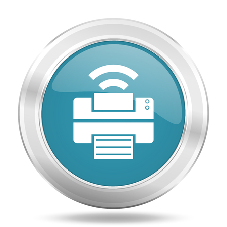 printer icon: printer icon, blue round metallic glossy button, web and mobile app design illustration