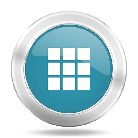 thumbnails: thumbnails grid icon, blue round metallic glossy button, web and mobile app design illustration Stock Photo