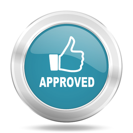 approved icon: approved icon, blue round metallic glossy button, web and mobile app design illustration
