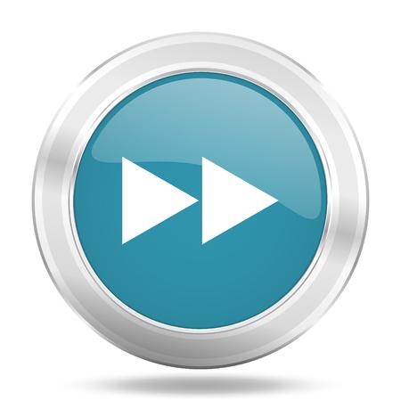 rewind icon: rewind icon, blue round metallic glossy button, web and mobile app design illustration