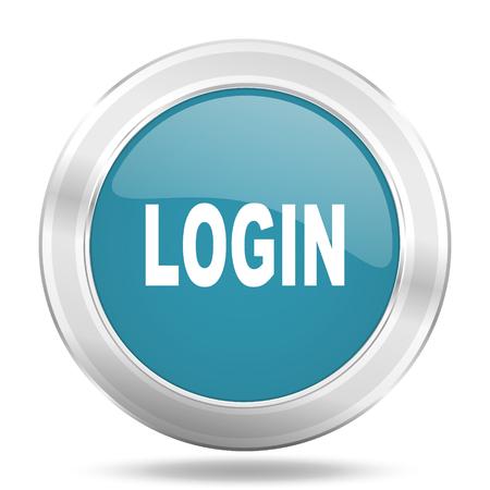 login icon: login icon, blue round metallic glossy button, web and mobile app design illustration Stock Photo