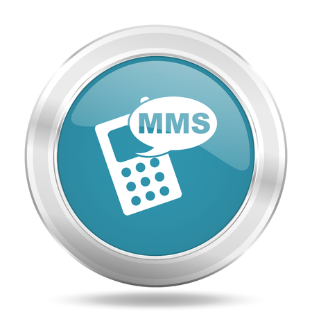 mms icon: mms icon, blue round metallic glossy button, web and mobile app design illustration Stock Photo
