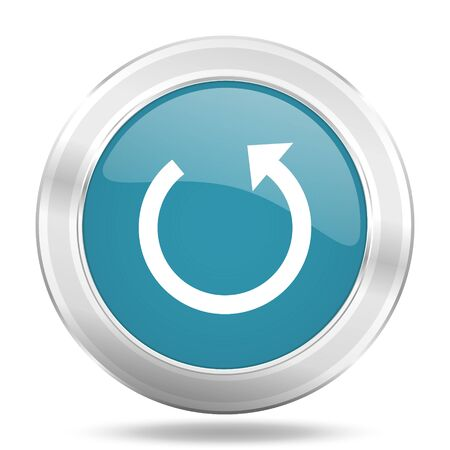 rotate icon: rotate icon, blue round metallic glossy button, web and mobile app design illustration Stock Photo