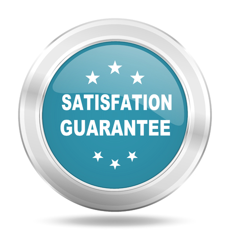 satisfaction guarantee: satisfaction guarantee icon, blue round metallic glossy button, web and mobile app design illustration Stock Photo