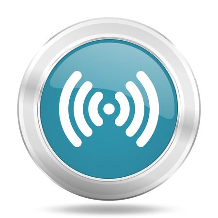 wifi icon: wifi icon, blue round metallic glossy button, web and mobile app design illustration Stock Photo