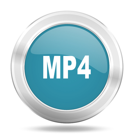 mp4: mp4 icon, blue round metallic glossy button, web and mobile app design illustration