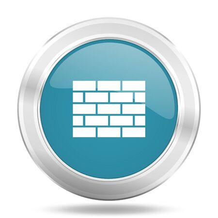 firewall icon: firewall icon, blue round metallic glossy button, web and mobile app design illustration Stock Photo