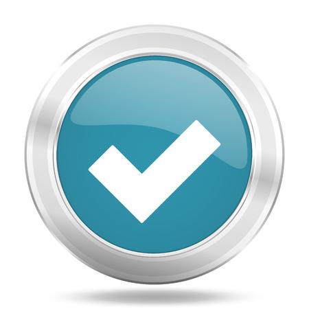 accept icon: accept icon, blue round metallic glossy button, web and mobile app design illustration