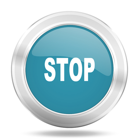 proscribed: stop icon, blue round metallic glossy button, web and mobile app design illustration