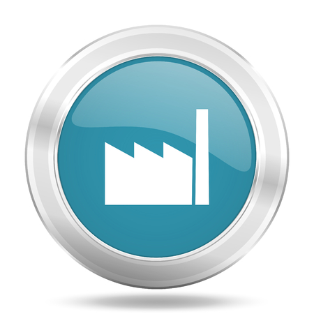 industrialist: factory icon, blue round metallic glossy button, web and mobile app design illustration Stock Photo