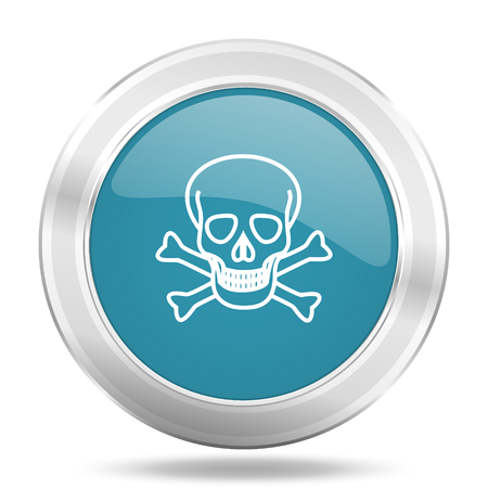 skull icon: skull icon, blue round metallic glossy button, web and mobile app design illustration