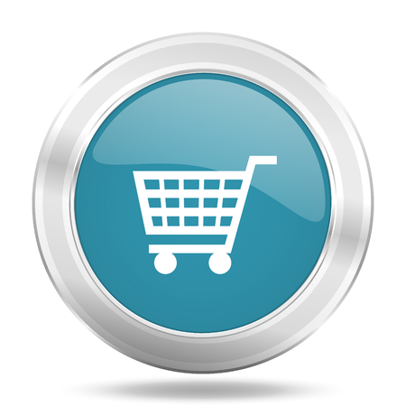 cart icon: cart icon, blue round metallic glossy button, web and mobile app design illustration