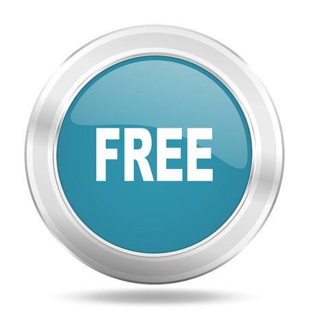 free icon: free icon, blue round metallic glossy button, web and mobile app design illustration