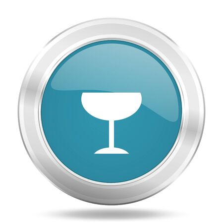 champain: alcohol  icon, blue round metallic glossy button, web and mobile app design illustration
