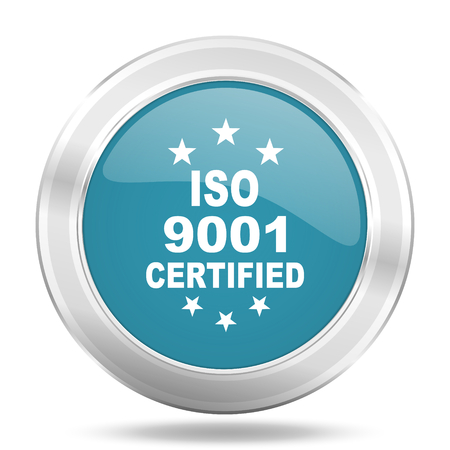 standard steel: iso 9001 icon, blue round metallic glossy button, web and mobile app design illustration