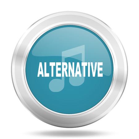 live stream radio: alternative music icon, blue round metallic glossy button, web and mobile app design illustration Stock Photo