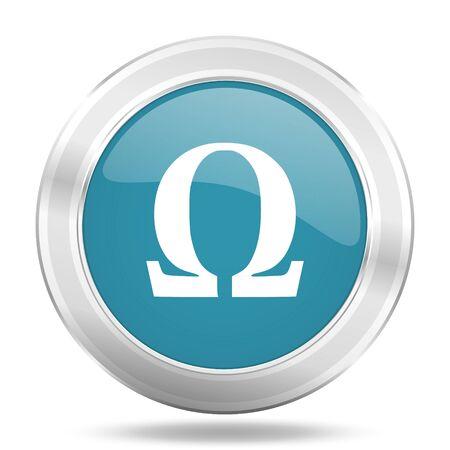 greek alphabet: omega icon, blue round metallic glossy button, web and mobile app design illustration