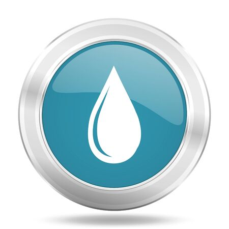drinkable: water drop icon, blue round metallic glossy button, web and mobile app design illustration