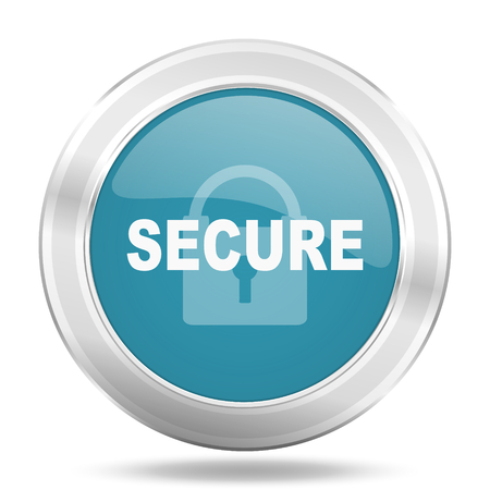 secure icon: secure icon, blue round metallic glossy button, web and mobile app design illustration Stock Photo