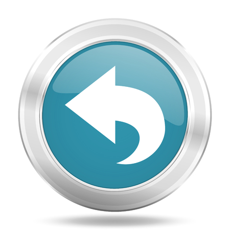 back icon: back icon, blue round metallic glossy button, web and mobile app design illustration
