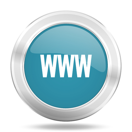www icon: www icon, blue round metallic glossy button, web and mobile app design illustration Stock Photo