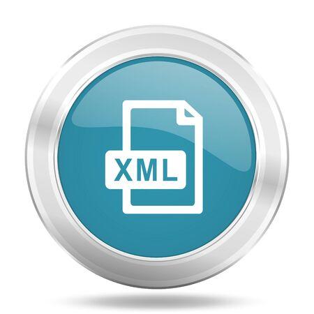 xml: xml file icon, blue round metallic glossy button, web and mobile app design illustration Stock Photo